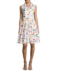 Samantha Sung Claire Sleeveless Splatter Print Shirtdress White Red White Red