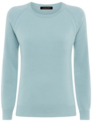 Jaeger Cable Knit Cashmere Jumper Slate Blue