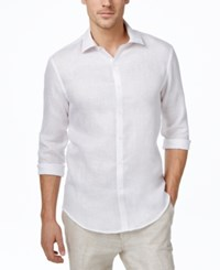 Tasso Elba Men's Marled Long Sleeve Shirt Only At Macy's White Combo