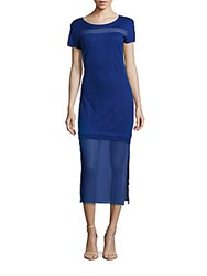 Sandro Rudell Linen Mesh Dress Ocean Blue