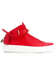 Buscemi Ankle Strap Hi Top Sneakers Men Calf Leather Leather Rubber 40 Red