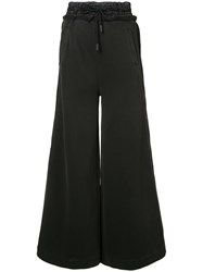 Off White Flared Trousers Women Cotton Polyester Xs Black