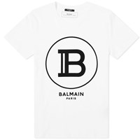 Balmain Flocked B Circle Logo Tee White