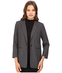 Kensie Heather Stretch Crepe Longer Blazer Ks8k2s45 Heather Dark Grey Women's Jacket Gray
