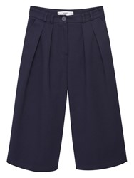 Mango Cotton Cropped Trousers Navy