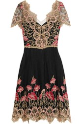 Marchesa Notte Floral Embroidered Tulle Mini Dress Multi