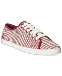 Nautica Women's Lanyard Lace Up Sneakers Women's Shoes Red Stripes