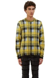 Fendi Checked Hairy Knit Crew Neck Sweater Yellow