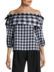 Parker Jenay Gingham Off The Shoulder Blouse Checker