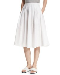Vince Pleated Midi A Line Skirt White