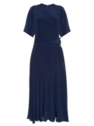 Rochas Drop Waist Silk Crepe De Chine Dress Navy