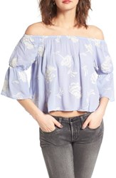 Lush Women's Floral Embroidered Off The Shoulder Top Brunnera Blue