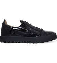 Giuseppe Zanotti Patent Leather Low Top Trainers Black
