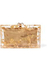 Charlotte Olympia Pandora Foil Embellished Perspex Clutch Gold