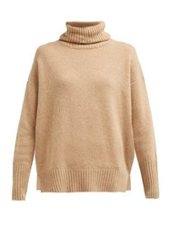 Allude Roll Neck Cashmere Sweater Camel