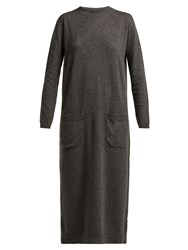 Raey Pocket Front Cashmere Midi Dress Charcoal