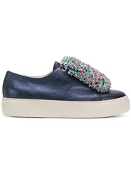 Agl Beaded Front Platform Sneakers Blue