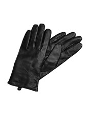 Hallhuber Leather Gloves With Cashmere Lining Black