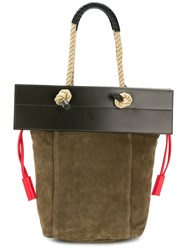 Ports 1961 Rope Handle Flap Tote Bag Green