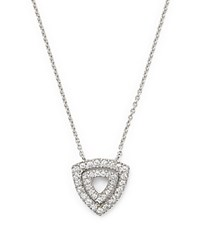 Dana Rebecca Designs 14K White Gold Emily Sarah Double Triangle Pendant Necklace With Diamonds 16