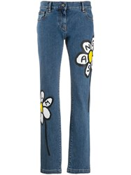 Palm Angels Daisy Print Jeans Blue