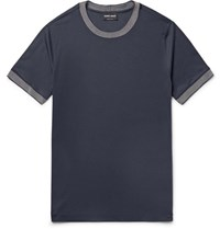 Giorgio Armani Slim Fit Contrast Trimmed Jersey T Shirt Midnight Blue