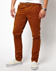 Pull And Bear Pullandbear Chino With Belt Rust