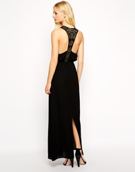 Cynthia Vincent Leather Cut Out Racer Back Maxi Dress Black