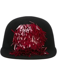 Lanvin Sequin Detail Baseball Cap Black