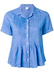 Aspesi Short Sleeve Pleated Shirt Blue