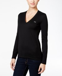 Lacoste Long Sleeve V Neck T Shirt Black