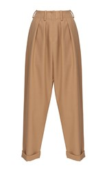 Jay Ahr Cropped Pleated Wool Trouser Tan