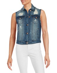 William Rast Distressed Denim Vest Sake Wash