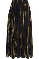Mes Demoiselles Bosphore Cotton And Lurex Blend Gauze Maxi Skirt Navy