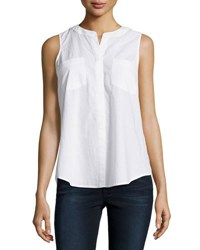 Neiman Marcus Sleeveless Flyaway Cotton Blouse White