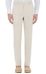 Isaia Men's Slub Weave Gregory Trousers Nude