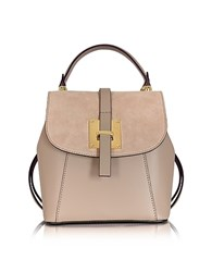 Le Parmentier Palazia Taupe Suede And Leather Small Backpack Nude