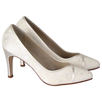 Rainbow Club Melanie Satin Lace Court Shoes Ivory