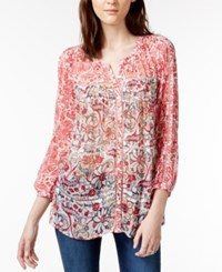 Lucky Brand Printed Crochet Detail Peasant Shirt