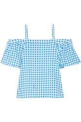 Draper James Cold Shoulder Gingham Cotton And Silk Blend Top Azure