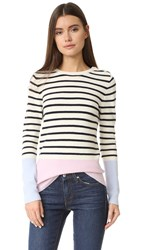 Chinti And Parker Colorblock Sweater Antique Pink Multi