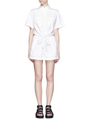 Alexander Wang Cotton Poplin Tie Front Rompers White