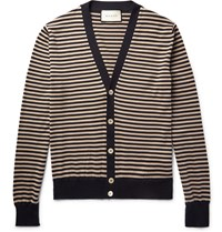 Gucci Striped Cotton And Cashmere Blend Cardigan