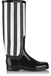 Dolce And Gabbana Striped Faux Patent Leather Rain Boots