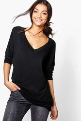 Boohoo Riane Oversized Long Sleeve Top Black