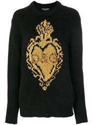 Dolce And Gabbana Knit Intarsia Heart Jumper Silk Acrylic Polyester Glass Black