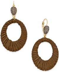 Inc International Concepts Gold Tone Faux Suede Drop Hoop Earrings Only At Macy's