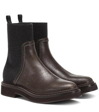 Brunello Cucinelli Leather Ankle Boots Brown