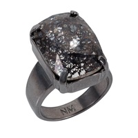 Nadia Minkoff Black Patina Oblong Stone Ring