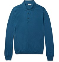 Boglioli Slim Fit Knitted Wool Polo Shirt Blue